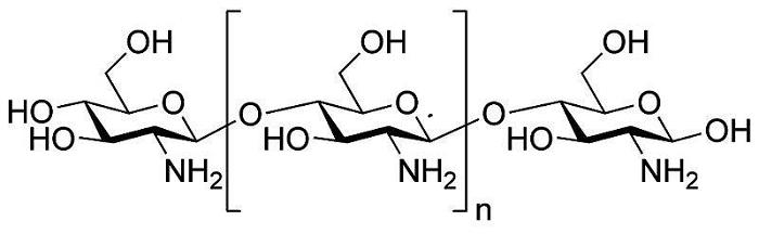 2.1 单纯的壳聚糖敷料 美国一家公司曾利用壳聚糖为基材研制出一款止血绷带,这种止血绷带与伤口处的渗出液接触后,能够利用壳聚糖自身所携带的正电荷吸引带负电荷的血红细胞,从而使血红细胞得以快速凝聚减少伤者的失血量。又由于壳聚糖本身具有一定的抑菌性,使得这种止血绷带能够有效防止伤口处的细菌感染,促进受伤组织快速愈合。此外,有研究人员比较了这种新型壳聚糖止血纱布与各种纱布的止血效果,结果表明,新型壳聚糖止血纱布在无人工按压的情况下更能起到快速止血的作用,从而有效减少伤者的血液流失。 2.